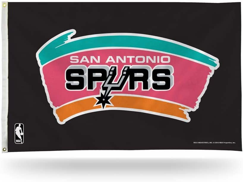 NBA Spurs San Antonio Retro Black Background Banner Flag Sports Fan Home Decor, Multicolor, One Size