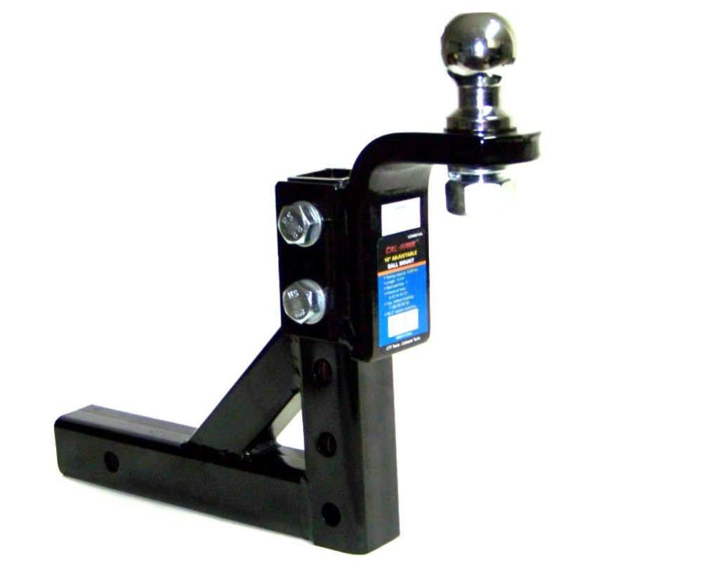 GHP Heavy Duty Steel Construction 10'' Adjustable Trailer Drop w 1-7/8'' Hitch Ball