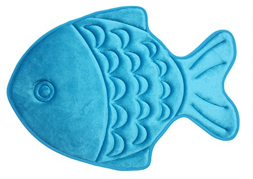 J & M Home Fashions Fish Kids Memory Foam Bath Mat, 19 by 27