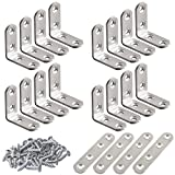 20 Pcs Stainless Steel Corner Braces, FineGood 16 Pcs 40 x 40mm 90 Degree Right Angle L-Shaped Bracket Joint and 4 Pcs Plat Straight Braces Fastener for Wood Shelf Cabinet Chair Table, with 80 Screws