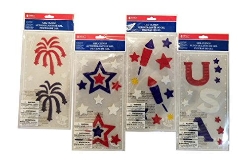 American Flag Window Gel Clings for Kids - Summer or Classroom Decorations - Assortment of American Flag, USA, Rockets, Fireworks, Stars - 4 Sheets
