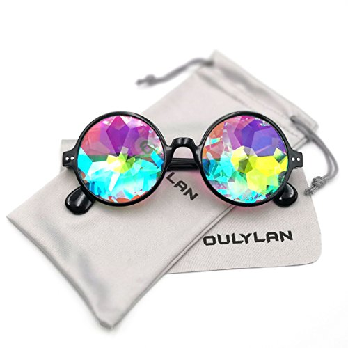 (Round Kaleidoscope Glasses Rainbow Prism Sunglasses for Women Men OULYLAN Party Rave Festival Glasses with Grey Sun Glasses Cloth)