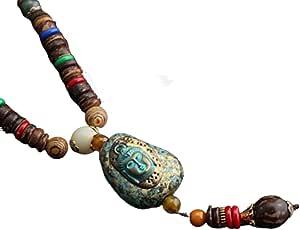 EXINOX Collar Budista Largo con Cuentas de Madera   Etnico Buda   Mujer  