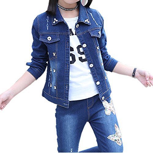 Oushiny Girls' Denim Jacket & Jeans Butterfly Embroidered 2-Piece Set,3pc,11-12 Butterfly Jean Jacket