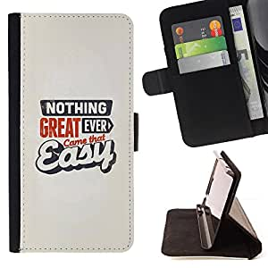 - QUOTE MOTIVATIONAL GREAT NEVER EASY CAME - - Prima caja de la PU billetera de cuero con ranuras para tarjetas, efectivo desmontable correa para l Funny HouseFOR Sony Xperia Z1 Compact D5503