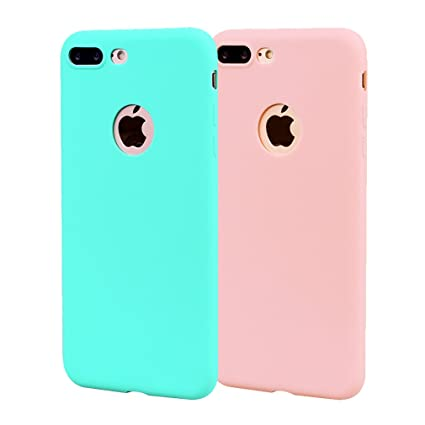 Funda iPhone 8 Plus, Carcasa iPhone 8 Plus Silicona Gel, OUJD Mate Case Ultra Delgado TPU Goma Flexible Cover para iPhone 8 Plus - Cielo azul + rosa