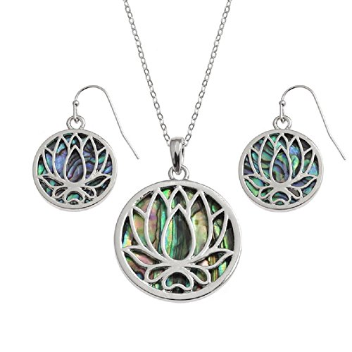 Spiritual Awakening' 18K Gold Plated & Abalone Paua Shell Indian - Om Lotus Water Lily - Necklace Earrings Jewellery Set Gift Boxed by BellaMira
