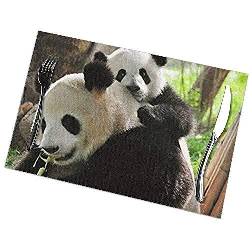 Juego de 6 manteles individuales para mesa de comedor; Manteles navidenos de Pascua y vacaciones Baby Panda y Mom Ani