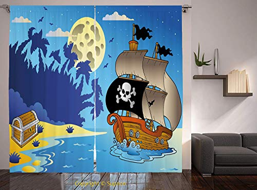 Living Room Bedroom Window Drapes/Rod Pocket Curtain Panel Satin Curtains/2 Curtain Panels/108 x 84 Inch/Pirate,Buccaneer Adventure Antique Ship Deserted Tropical Island Chest Midnight Filibuster Deco
