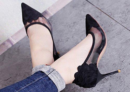 Travail Aisun Escarpins Pointu Mesh Bout Femme Sexy Noir Stiletto wvrvYqpZx