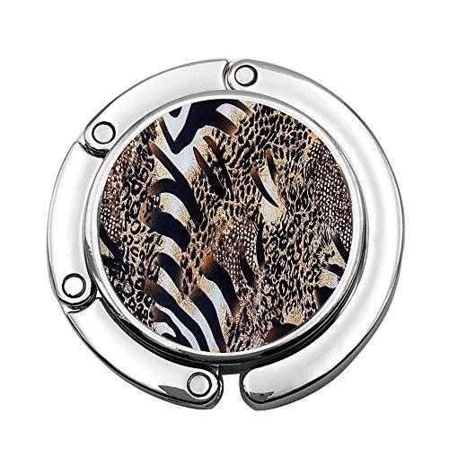 - PoppyAnthony Safari Wild Striped Zebra and Leopard Pattern Purse Hook Foldable Handbag Hanger Folding Table Hanger