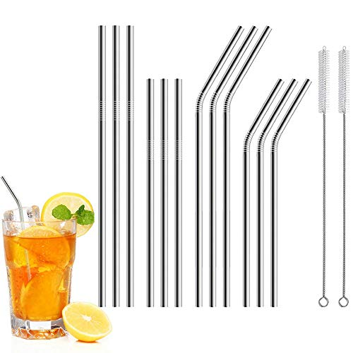 Price comparison product image Buybuybuy Set of 12 Stainless Steel Straws for 30oz 20oz Tumblers Cups Mugs,  Metal Drinking Straw with Cleaning Brush for 30 20 ounce Yeti Rambler Rtic Ozark Trail