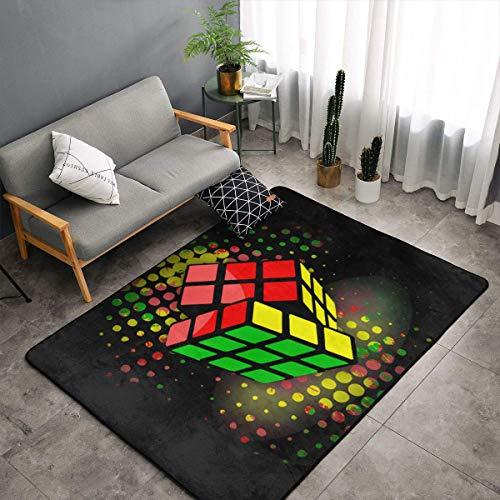 (Colorful Cube Black Area Rug, Bedroom Living Room Kitchen Rug, Doormat Floor Mat Standing Mat, Children Play Rug Carpet Bathroom Rug Mat, Throw Rugs Carpet Yoga Mat)
