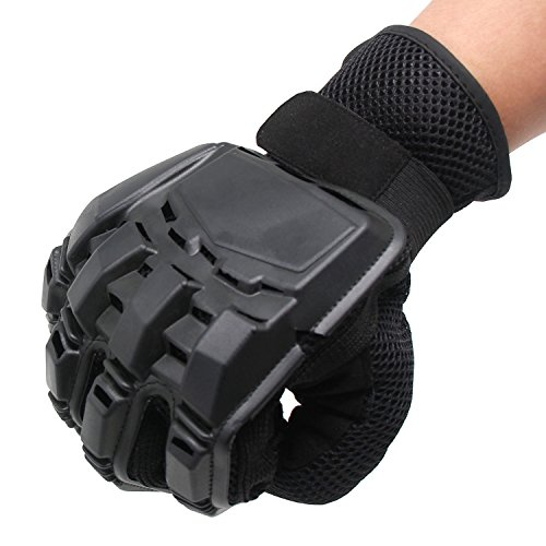 Xcellent Global Full Finger Gloves Armored Paintball Airsoft Gloves for Motocross War Games Mountain Biking, Black, Size L FS036L by Xcellent Global
