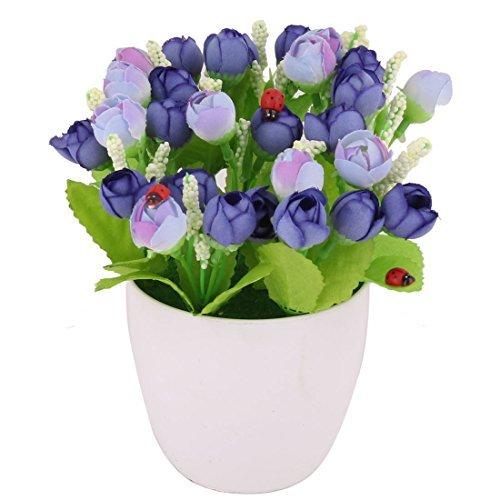 eDealMax plástico Inicio artificiales de Rose Craft Maceta Mesa de escritorio púrpura de la Flor de la decoración B07GL15PDM