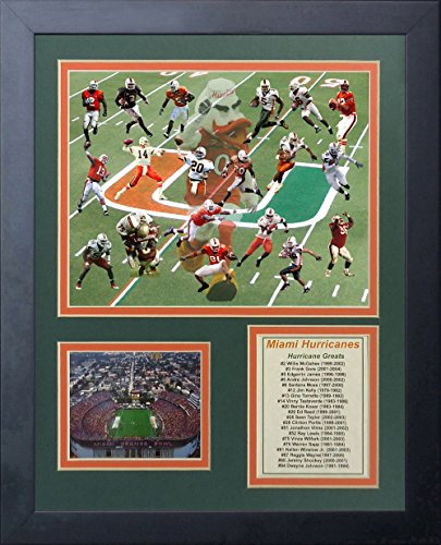 Legends Never Die Miami Hurricanes Greats Framed Photo Collage, 11 by 14-Inch