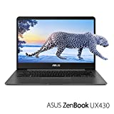"PC Hardware : ASUS ZenBook UX430UA-DH74 Ultra-Slim Laptop 14"" FHD wideview display 8th gen Intel Core i7 Processor, 16GB DDR3, 512GB SSD, Windows 10, Backlit keyboard, Quartz Grey"