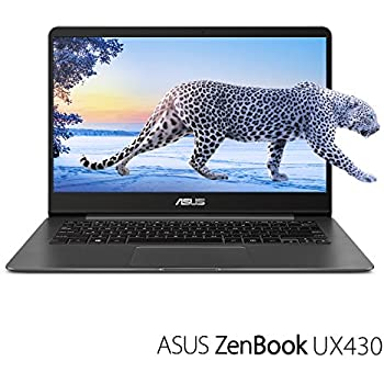 "ASUS ZenBook UX430UA-DH74 Ultra-Slim Laptop 14"" FHD wideview display 8th gen Intel Core i7 Processor, 16GB DDR3, 512GB SSD, Windows 10, Backlit keyboard, Quartz Grey"