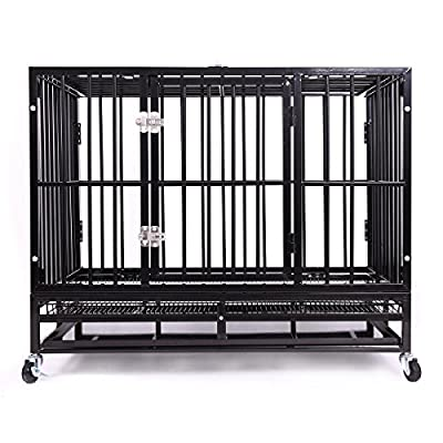 Heavy Duty Dog Crate?Large Metal Strong Dog Kennel Cage with Tray and Wheels