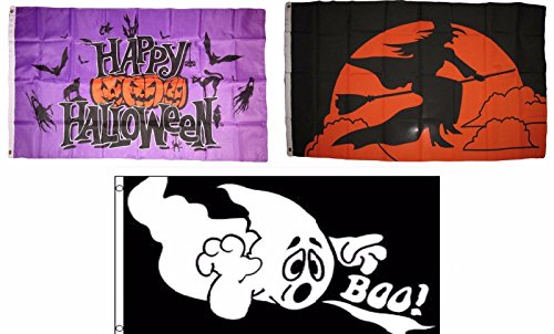 ALBATROS 3 ft x 5 ft Happy Halloween 3 Pack Flag Set #126 Combo Banner Grommets for Home and Parades, Official Party, All Weather Indoors Outdoors ()