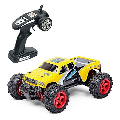 EchoAcc® Puissant RC voiture - Véhicule Tout Terrain de 4WD à la Grande Vitesse de 40km/h Télécommandée de 50M Jeu de Temps de 40mins avec Batterie Rechargeable Echelle de 1:24 le Régulateur de 2.4Ghz (Jaune)