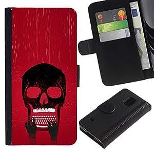 JackGot ( Cráneo Typewriter fresca ) Samsung Galaxy S5 V SM-G900 la tarjeta de Crédito Slots PU Funda de cuero Monedero caso cubierta de piel