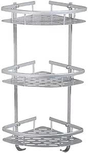 Stainless Steel 3 Layer Corner Rack Bathroom Yogon Wall Mounted Metal Shower Shelf Sector Silver