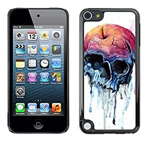 Shell-Star Arte & diseño plástico duro Fundas Cover Cubre Hard Case Cover para Apple iPod Touch 5 ( Apple Watercolor Skull Art Death )