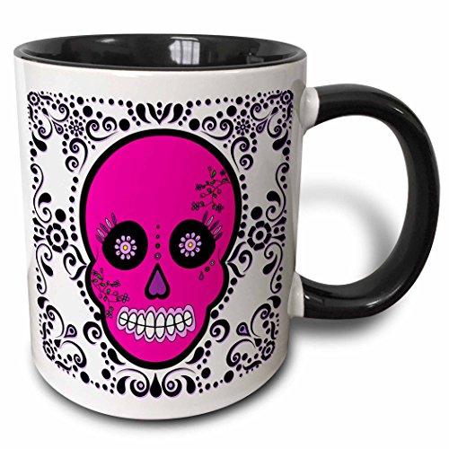 3dRose Day of the Dead Skull Dia De Los Muertos Sugar Skull Pink White Black Scroll Design Two Tone Black Mug, 11 oz, ()