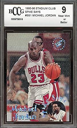 a21bbe4ccb4 1995-96 stadium club spike says #ss1 MICHAEL JORDAN chicago bulls BGS BCCG 9