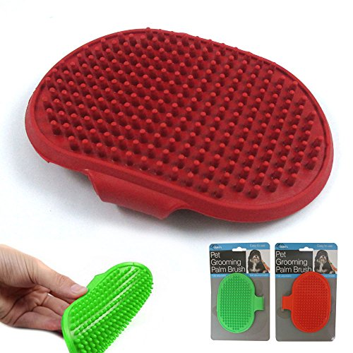 Dog Cat Pet Grooming Brush Comb Hair Rubber Oval Strap Bath Handle Soft Scruber