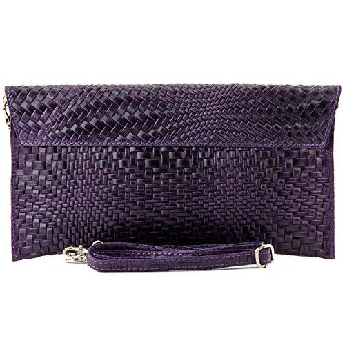 Dark Purple bag Evening Clutch de bag Leather Wrist Braid T106F Handbag Modamoda bag bag ital underarm pattern nRqwZaxYF