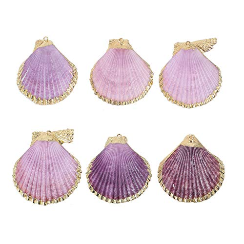 6 PCS Pack Natural Purple Large Sea Clam Shells Pendant Handmade Plated Real Gold Purple Scallop Shells Charms Bulk for Jewelry - Shell Scallop Pendant