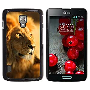 Be Good Phone Accessory // Dura Cáscara cubierta Protectora Caso Carcasa Funda de Protección para LG Optimus L7 II P710 / L7X P714 // Lion Africa Savannah Jungle Leader Pack