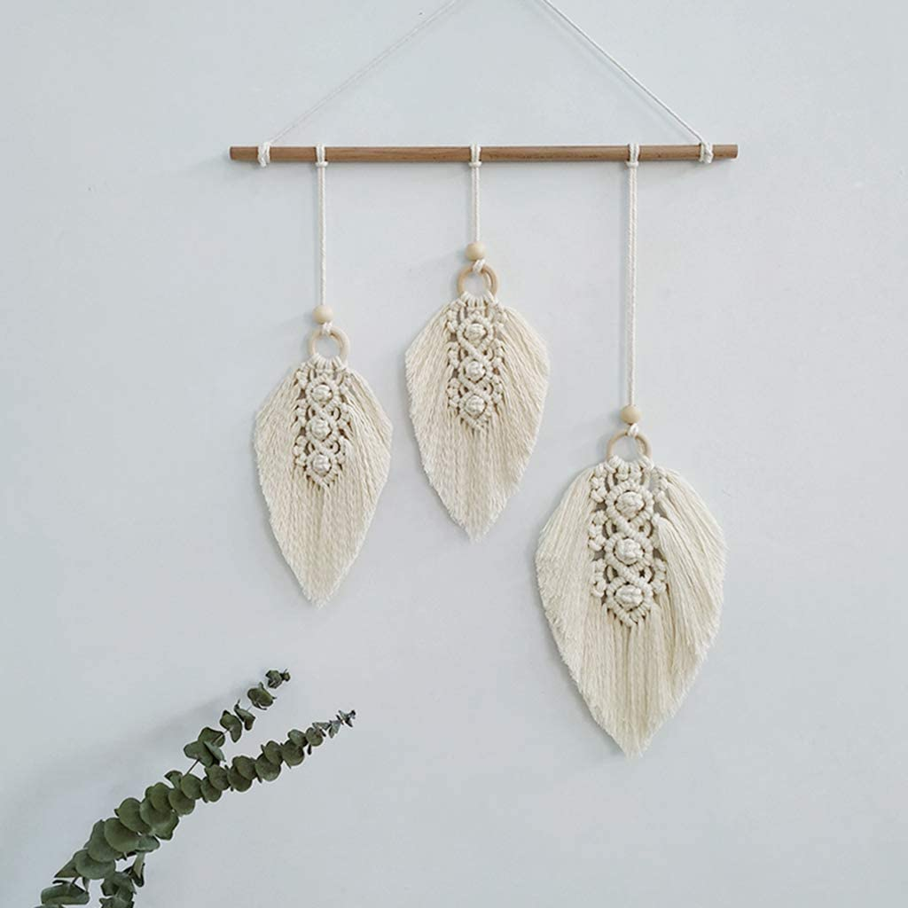 Clife Macrame Wall Hanging Feather Boho Chic Woven Leaf Tassels Decoration Cotton Ornaments - Bohemian Apartment Decorations - Living Room Bedroom Decor (Ivory-3 Leaf)