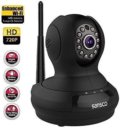 [mejorado WIFI] inalámbrica SANSCO 720P HD Red IP Cámara Pan/Tilt, día noche monitor (mega-píxeles, dos vías, Scan & Connect, iOS/Android Vista, ...