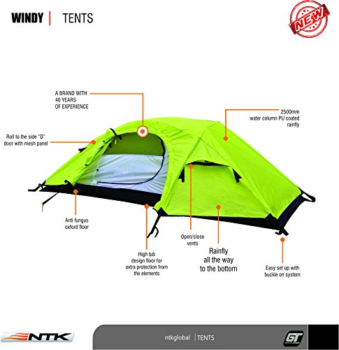 NTK Windy 1 Man Dome Bivy Lightweight Tent, 8 x 5FT Outdoor Dome Backpacking Recon Tent 100% Waterproof 2500mm, Super Compact, Durable Fabric Full Coverage Rainfly – Micro Mosquito Mesh