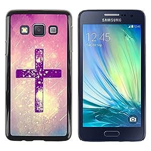 TopCaseStore / la caja del caucho duro de la cubierta de protección de la piel - Christ Snow Pink Purple God Religious - Samsung Galaxy A3 SM-A300