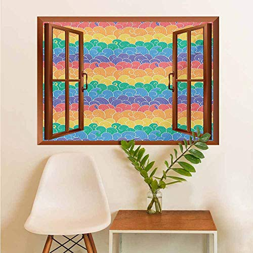 AuraiseHome Decorative Films Glass Window Colorful Waves Cartoon Style Sea Pattern in Rainbow Colors Fun Children Art Travel Stickers Multicolor W36xL48 INCH (Kid Friendly Horses For Sale In Texas)