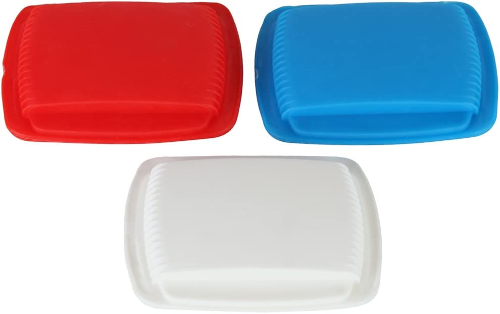 Home-X Portable Squeeze Open Pill Pouch. (Set of 3 Colors. Red, White and Blue)