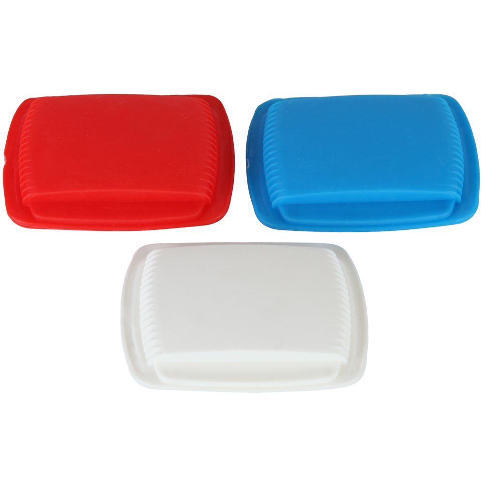 Home-X Portable Squeeze Open Pill Pouch. (Set of 3 Colors. Red, White and Blue) by Home-X