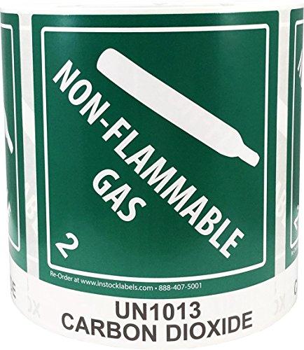 (Hazard Class 2 D.O.T. UN1013 Carbon Dioxide Labels 4 x 4 3/4 Inch Square 500 Adhesive Stickers)