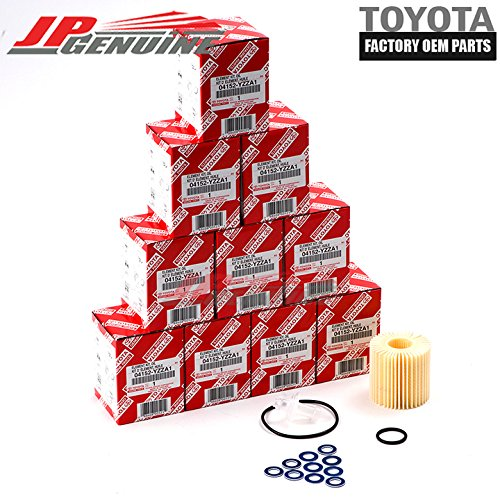 Genuine OEM 04152-Yzza1 X10 Toyota Lexus Oil Filters + Drain Plug Washers