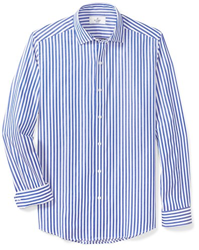 BUTTONED DOWN Men's Fitted Supima Cotton Spread-Collar Dress Casual Shirt, Blue/White Large Bengal Stripe, M -