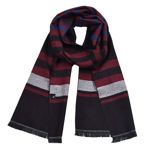 Yhjklm-AS Bufandas para Hombre Larga Bufanda de algodón para los Hombres de Doble Cara del Color del mantón Suave Gruesa Bufanda Caliente Franja Bufandas a Cuadros con Caja de Regalo Clásico cálido: