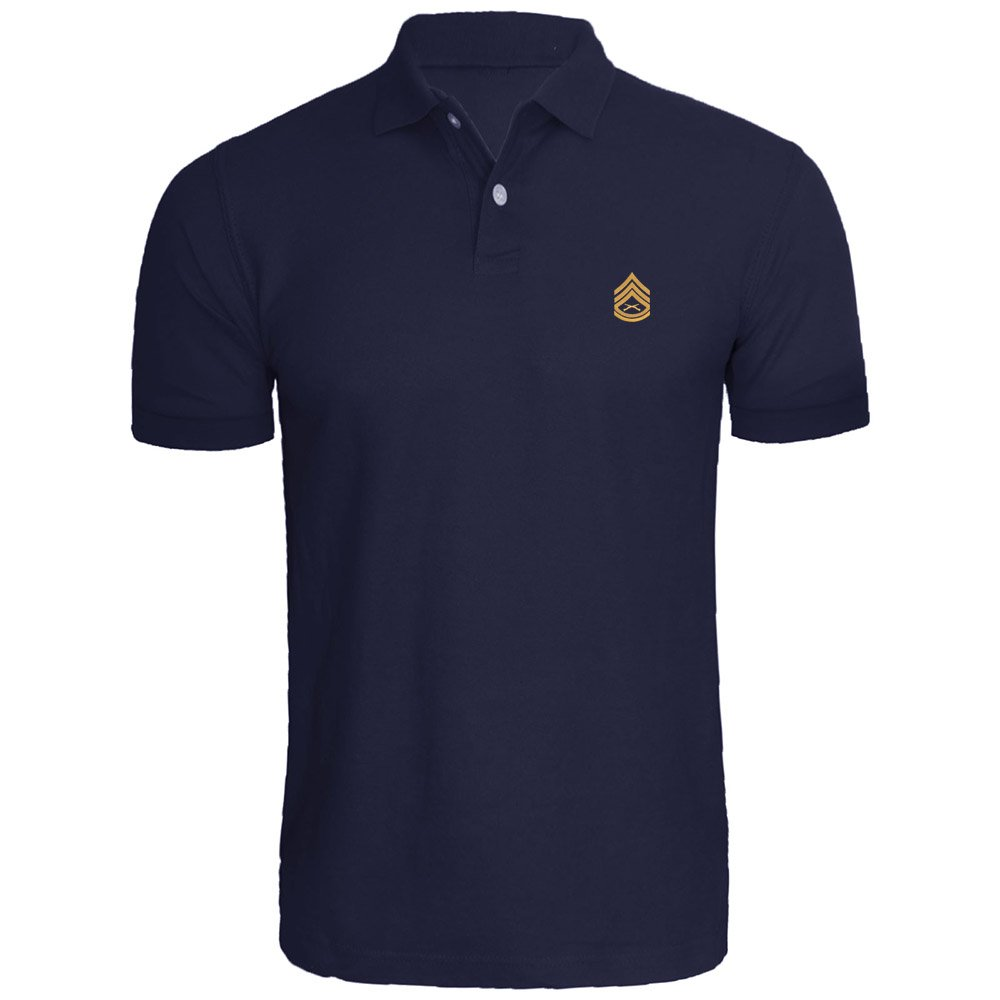 Mens Staff Sergeant SSgt Rank Embroidered Knit Striped Short Sleeve Polo Shirts