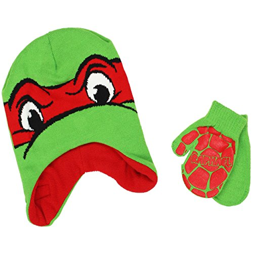 TMNT Teenage Mutant Ninja Turtles Toddler Beanie Hat and Mittens Set (One Size, Raphael (Printed Fleece Mitten)