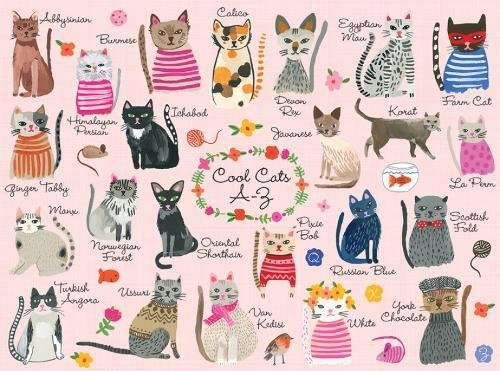 """Mudpuppy Cool Cats 1000 Piece Puzzle – Whimsical Carolyn Gavin Illustrations of 23 Cats with Finished Puzzle 20"""" x (Cool Cat Cat)"""