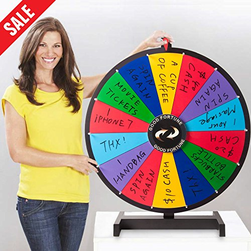 Metal Spinning Wheel - Hepburn's Tabletop Irregular Spinning Prize Wheel 14 Slots with Color Dry Erase Trade Show Spin Game 18 Inch