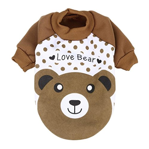 Hot Sale!!Small Puppy Costume Apparel Coat,Pet Dog Cat Fleece Hoodie Clothes Winter Warm Sweater (XS, (Dog Brown Hoodie)